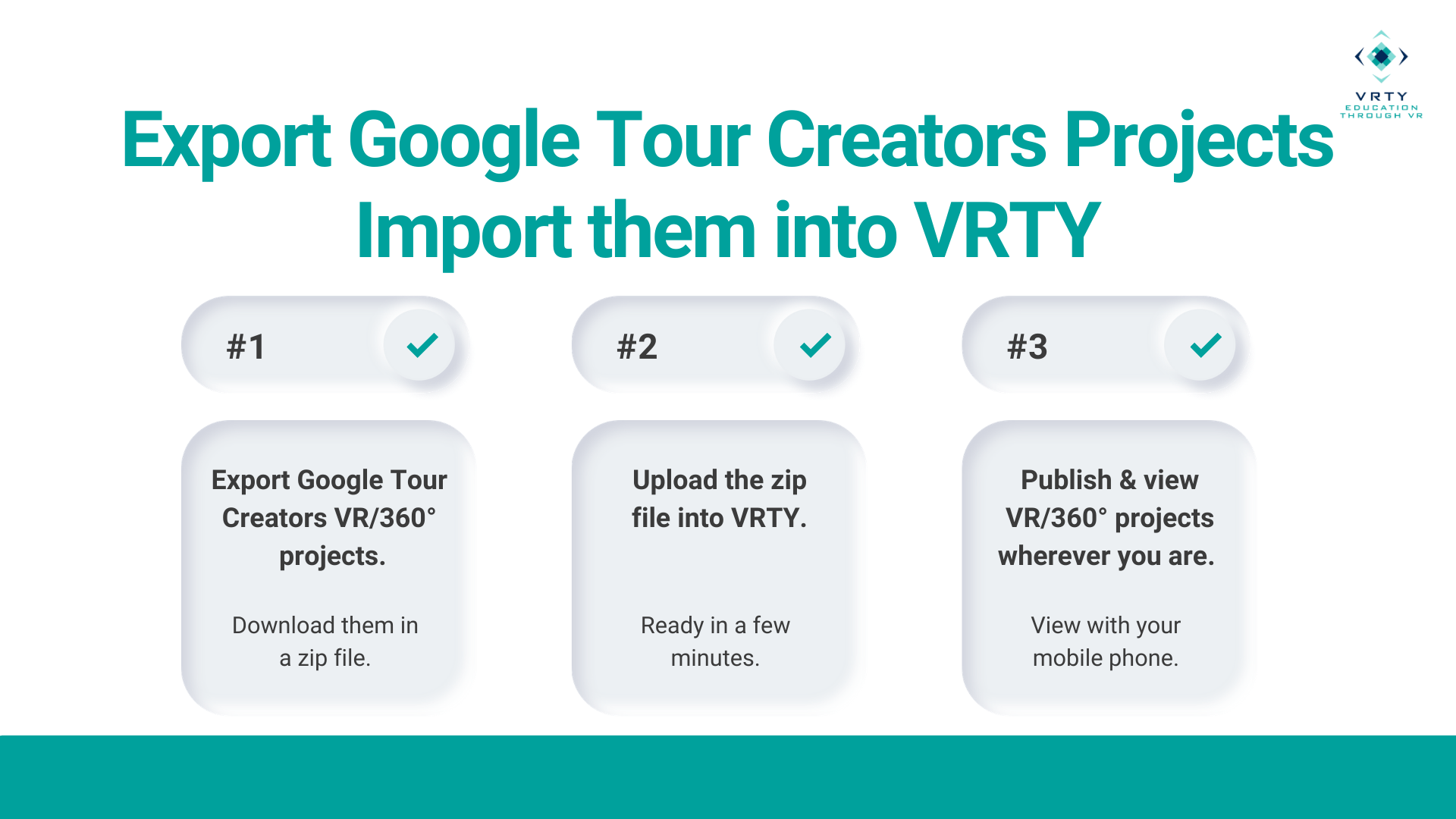 Steps to export and import google tour creator 360° projects