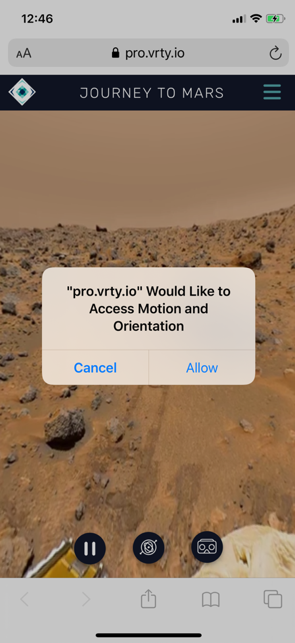 Note for Apple users, a request will pop up to allow access to Motion and Orientation – Click Allow.